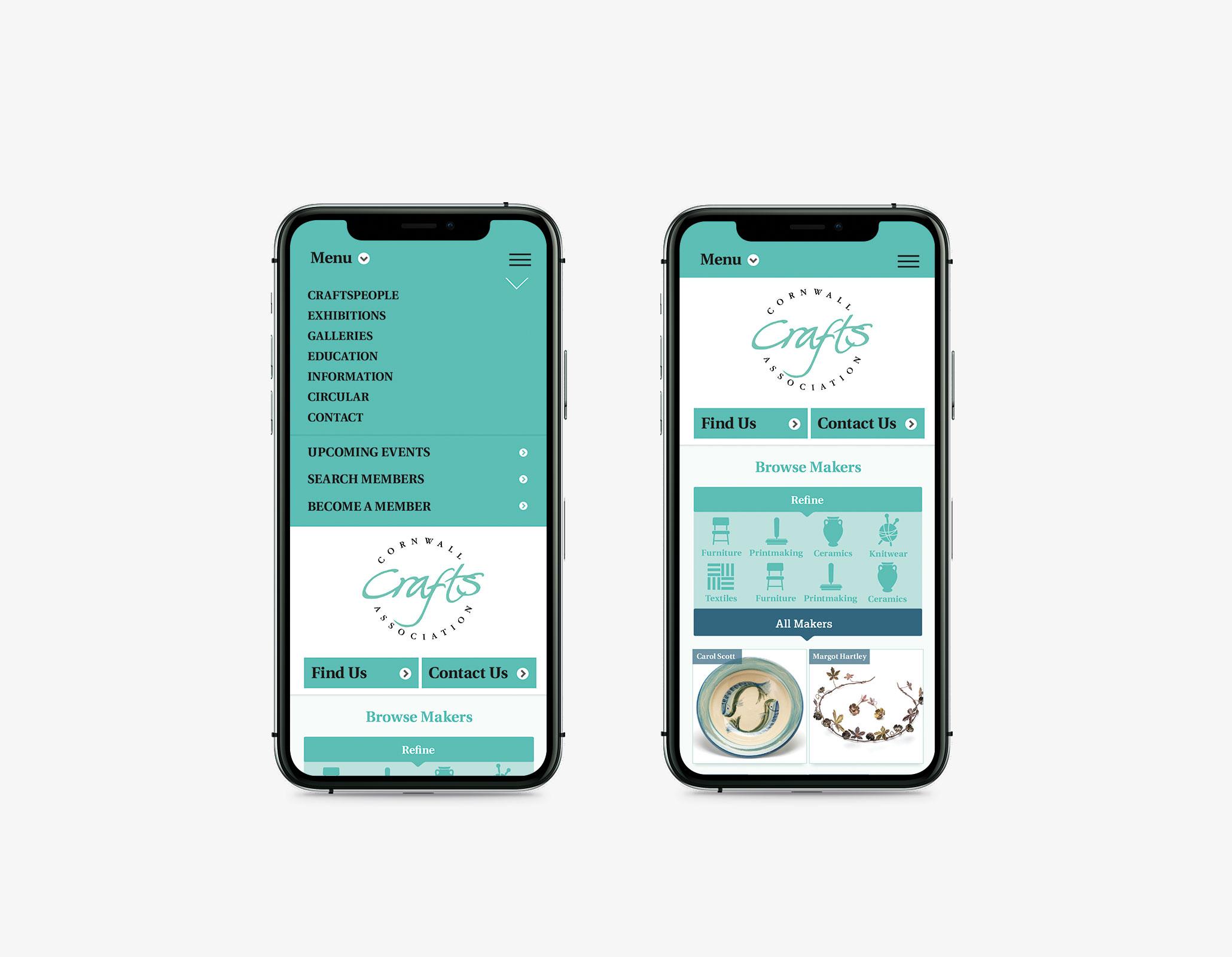 Cornwall Crafts Association Responsive website design