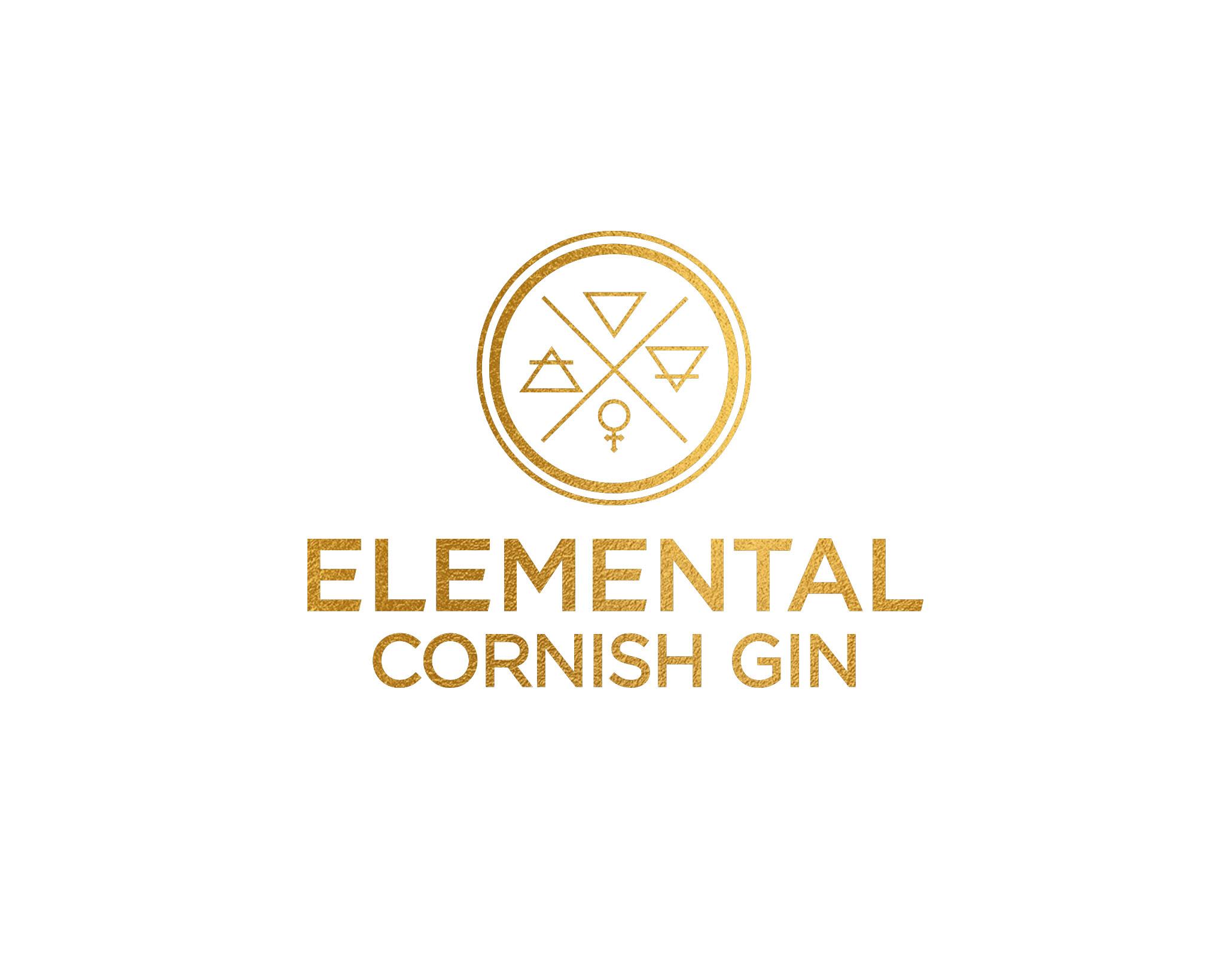 Elemental Cornish Gin bottle logo design